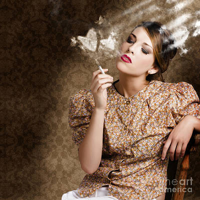 Pinup Portrait Of A Smoking Woman Blowing Hearts Print by Jorgo Photography - Wall Art Gallery