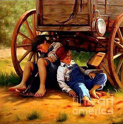 Frontier Farm Digital Art - Pioneer Boys Napping On The Trail by Unknown