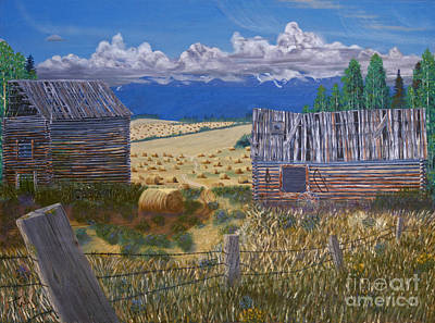 Bales Painting - Pioneer Homestead by Stanza Widen