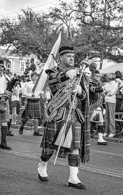 Marching Band Photograph - Pipe Major - Bw by Steve Harrington