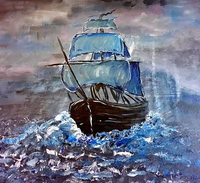 Pirate Ship Painting - Pirate Ship 1 by Adele Fulcher