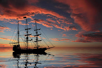 Pirate Ship At Sunset Print by Shane Bechler