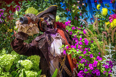 Flower Gardens Photograph - Pirate Skeleton Drinking by Garry Gay