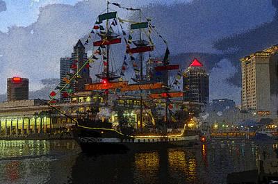 Pirate Ship Digital Art - Pirates Plunder by David Lee Thompson