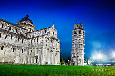 Marble Photograph - Pisa Cathedral With The Leaning Tower Of Pisa, Tuscany, Italy At Night by Michal Bednarek
