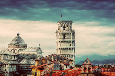 Roofs Photograph - Pisa Cathedral With The Leaning Tower Panorama. Unique Rooftop View by Michal Bednarek