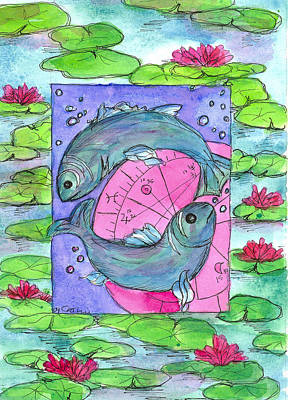 Pisces Fish Drawing - Pisces by Cathie Richardson