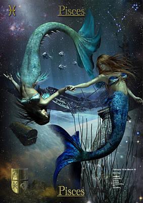 Zodiac Digital Art - Pisces by Joseph Soiza