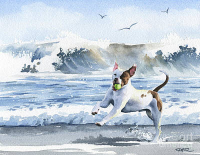 Dog Playing Ball Painting - Pit Bull At The Beach by David Rogers
