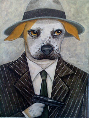 Pinstripes Painting - Pit Bull Boss by Fairy Tails Portraits