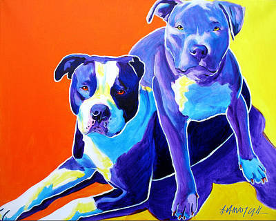 Pitbull Painting - Pit Bulls - Diamond And Deisel by Alicia VanNoy Call