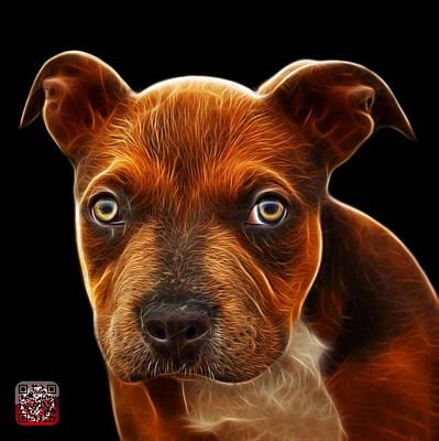 Pitbull Puppy Pop Art - 7085 Bb Print by James Ahn