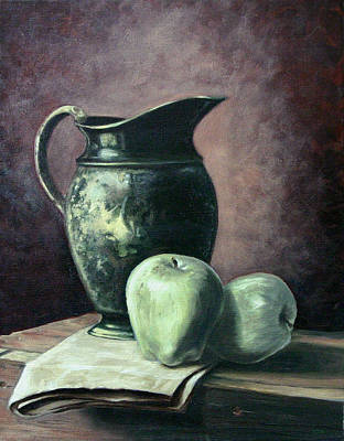 Water Pitcher Painting - Pitcher, Apples by Stan Cox
