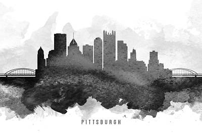 Pittsburgh Painting - Pittsburgh Cityscape 11 by Aged Pixel