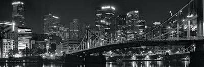 Pittsburgh Lights In Black And White Print by Frozen in Time Fine Art Photography