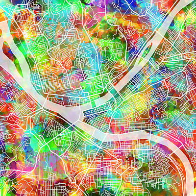 Abstract Map Digital Art - Pittsburgh Map Watercolor 3 by Bekim Art