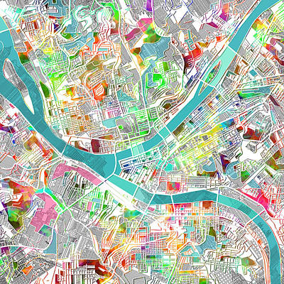 Abstract Map Digital Art - Pittsburgh Map Watercolor by Bekim Art