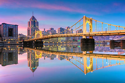 Pittsburgh North Shore Reflections  1 Print by Emmanuel Panagiotakis