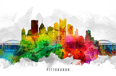 Pittsburgh Painting - Pittsburgh Pennsylvania Cityscape 12 by Aged Pixel