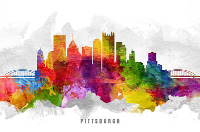 Pittsburgh Painting - Pittsburgh Pennsylvania Cityscape 13 by Aged Pixel