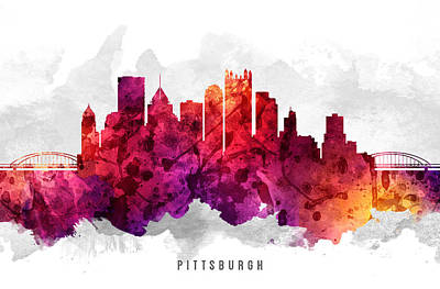 Pittsburgh Painting - Pittsburgh Pennsylvania Cityscape 14 by Aged Pixel