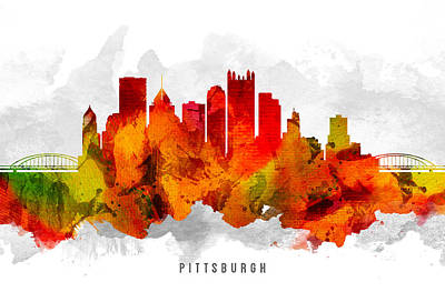 Pittsburgh Painting - Pittsburgh Pennsylvania Cityscape 15 by Aged Pixel