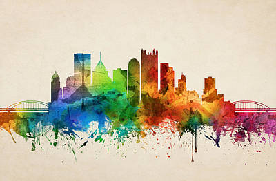 Pittsburgh Painting - Pittsburgh Pennsylvania Skyline 05 by Aged Pixel