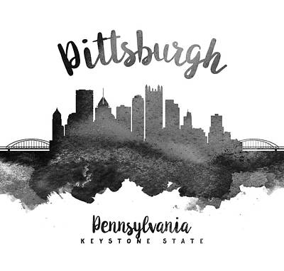Pittsburgh Skyline Painting - Pittsburgh Pennsylvania Skyline 18 by Aged Pixel