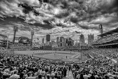 Pittsburgh Pirates Pnc Park Black And White Print by David Haskett