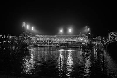 Pittsburgh Pirates Pnc Park Night Bw Print by David Haskett