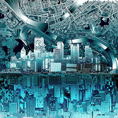 Abstract Digital Painting - Pittsburgh Skyline Abstract Blue by Bekim Art