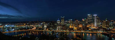 Pittsburgh Skyline At Dusk Panoramic  Print by Terry DeLuco