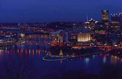 Pittsburgh Skyline At Night Christmas Time Print by Terry DeLuco