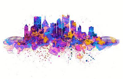 Modern Digital Art Digital Art Digital Art - Pittsburgh Skyline by Marian Voicu