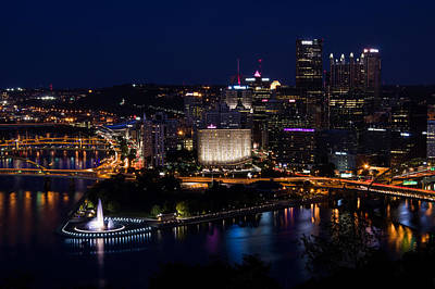 Pittsburgh Sparkles At Night Print by Lori Coleman