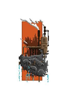 Factory Digital Art - Pixel Landscape Steam Factory by Thomas Pradeilles