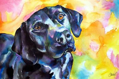 Black Lab Puppy Painting - Pixie Dog - Black Lab by Christy  Freeman