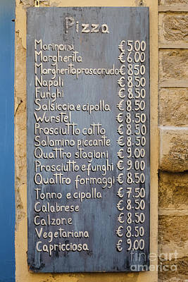 Napoli Photograph - Pizza Menu Florence Italy by Edward Fielding