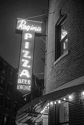 Pizzeria Regina Boston Ma North End Thacher Street Neon Sign Black And White Print by Toby McGuire