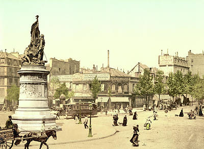 Horse And Cart Photograph - Place Clichy In Paris by French School