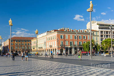 Place Massena In Nice Print by Elena Elisseeva