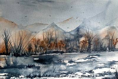 Wet Into Wet Watercolor Painting - Place Of Peace by Eunice Miller
