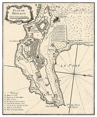 Vintage Map Painting - Plan De Monaco - 1764 by Pablo Romero