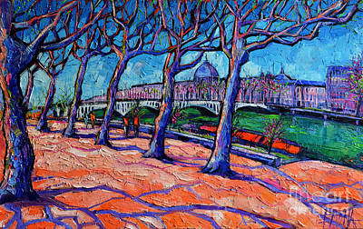 Shadows Painting - Plane Trees Along The Rhone River - Spring In Lyon by Mona Edulesco