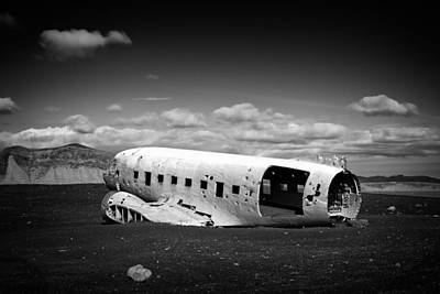 Plane Wreck In Iceland Black And White Print by Matthias Hauser