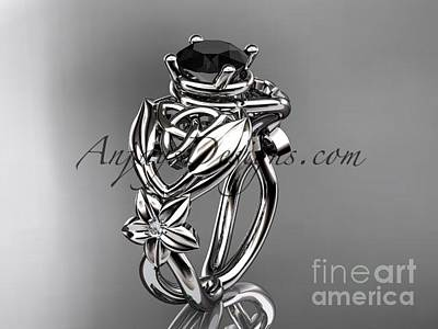 Jewelry - platinum  diamond celtic trinity knot wedding ring with a Black Diamond center stone CT7501 by AnjaysDesigns com