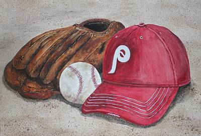 Softball Painting - Play Ball by Heather Summerville