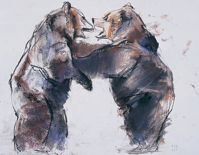 Animal Portraiture Drawing - Play Fight by Mark Adlington