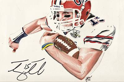 Tim Tebow Drawing - Play Hard by Jenna McMullins