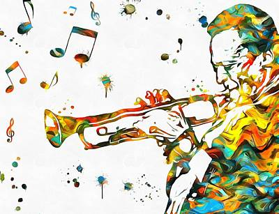 Trumpet Mixed Media - Play It Miles by Dan Sproul